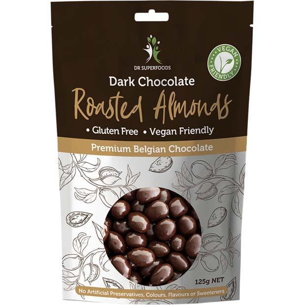 Dr Superfoods Dark Chocolate Roasted Almonds 125g - Happy Tummies