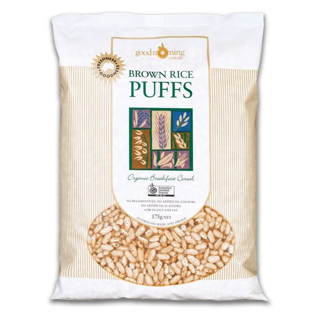 Good Morning Cereals Organic Brown Rice Puffs 175g - Happy Tummies