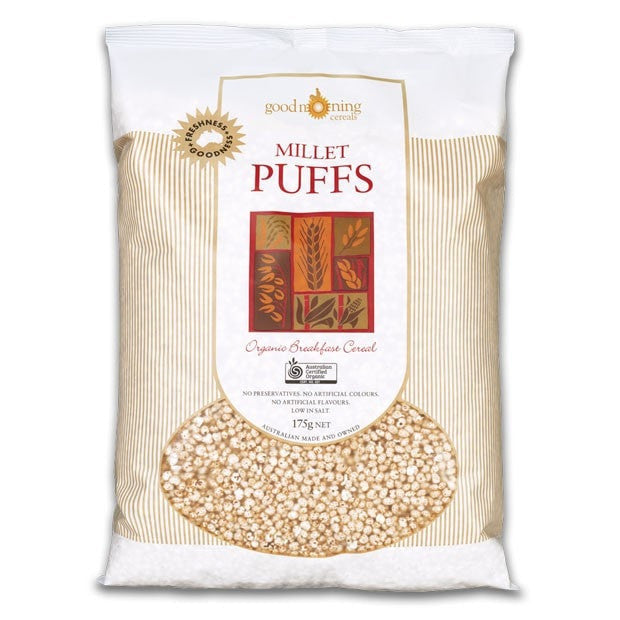 Good Morning Cereals Organic Millet Puffs 175g - Happy Tummies