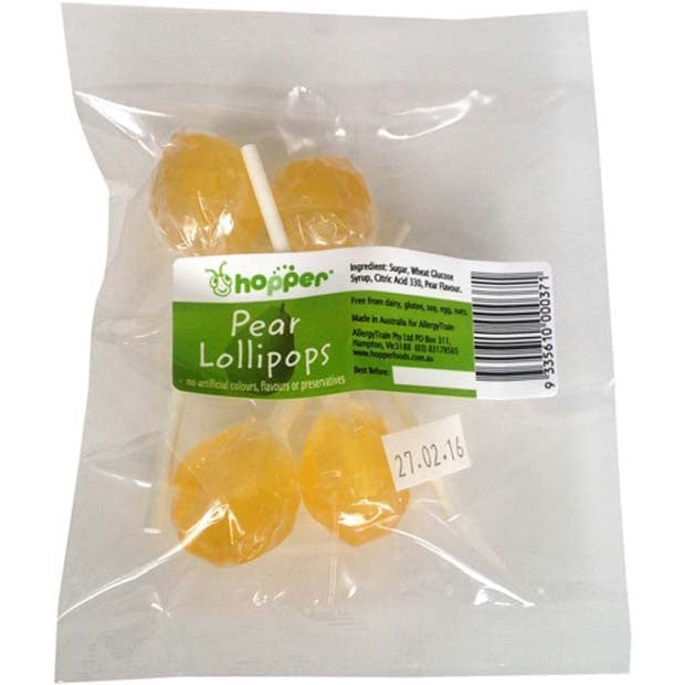 Hopper Pear Lollipops Pack 4 - Happy Tummies