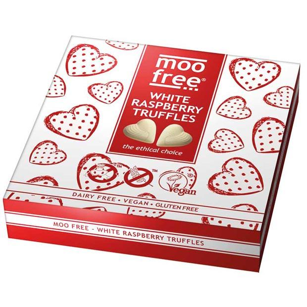 Moo Free Truffles White Raspberry 108g **SHORT DATED - 21/02/21**