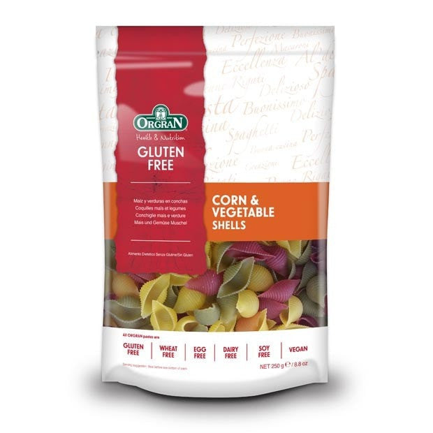 Orgran Corn and Vegetable Shells Pasta 250g - Happy Tummies