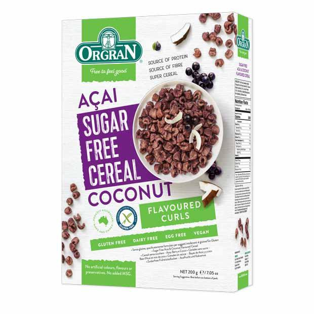 Orgran Sugar Free Cereal Acai & Coconut Curls 200g - Happy Tummies