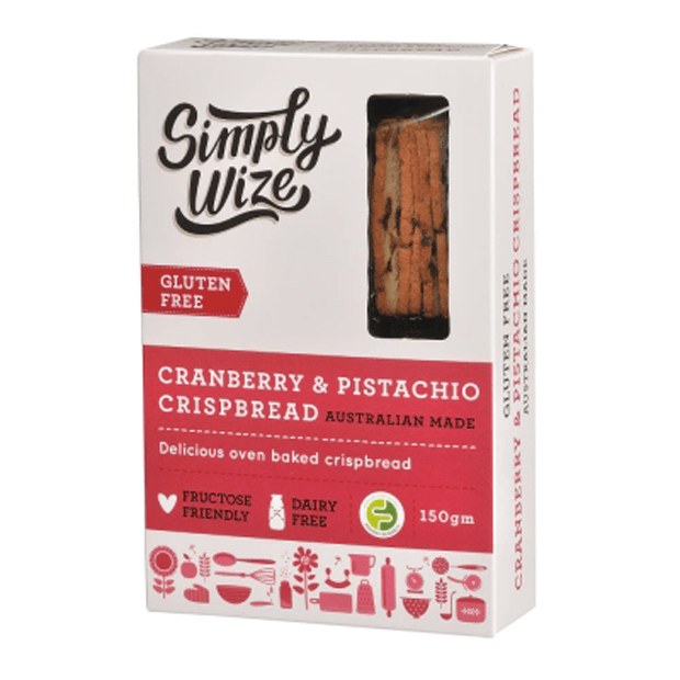 Simply Wize Cranberry & Pistachio Crispbread 150g **SHORT DATED - 02/06/20** - Happy Tummies