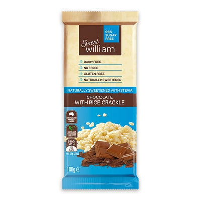 Sweet William Dairy Free Chocolate With Rice Crackle 100g