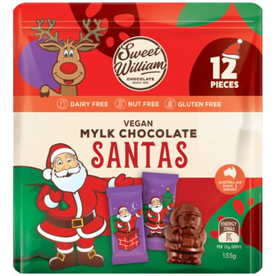 Sweet William Dairy Free Chocolate Santas 155g