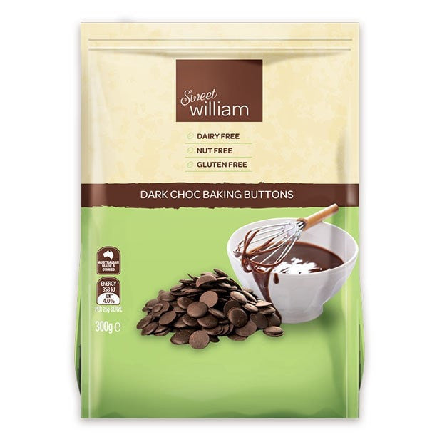 Sweet William Baking Buttons Dark Choc 300g - Happy Tummies