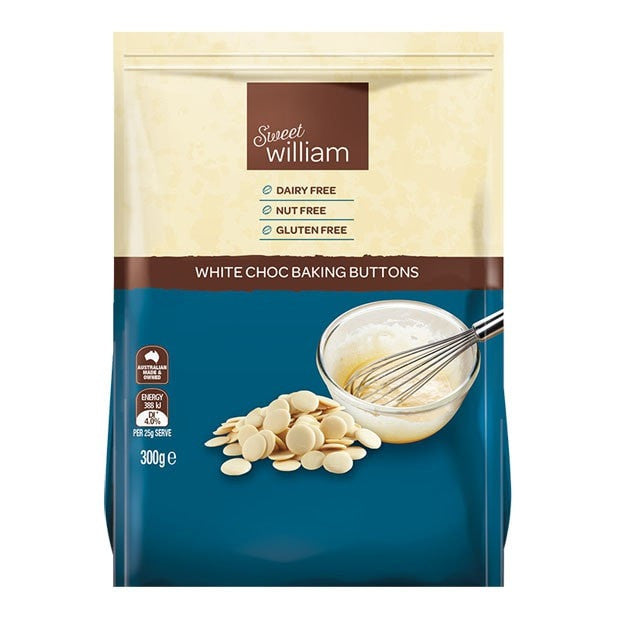Sweet William Baking Buttons White Choc 300g - Happy Tummies