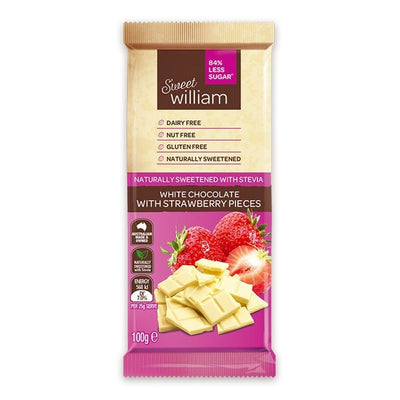 Sweet William Dairy Free White Chocolate With Strawberry Pieces No Added Sugar 100g