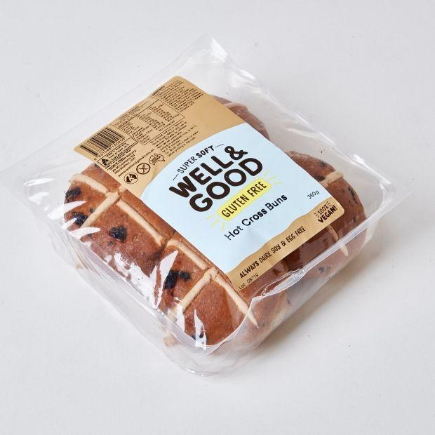 Well & Good Gluten Free Hot Cross Buns x 4 350g - Happy Tummies