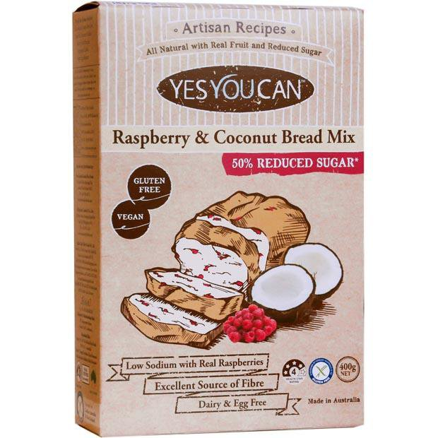 Yes You Can Artisan Raspberry and Coconut Bread Mix 450g - Happy Tummies