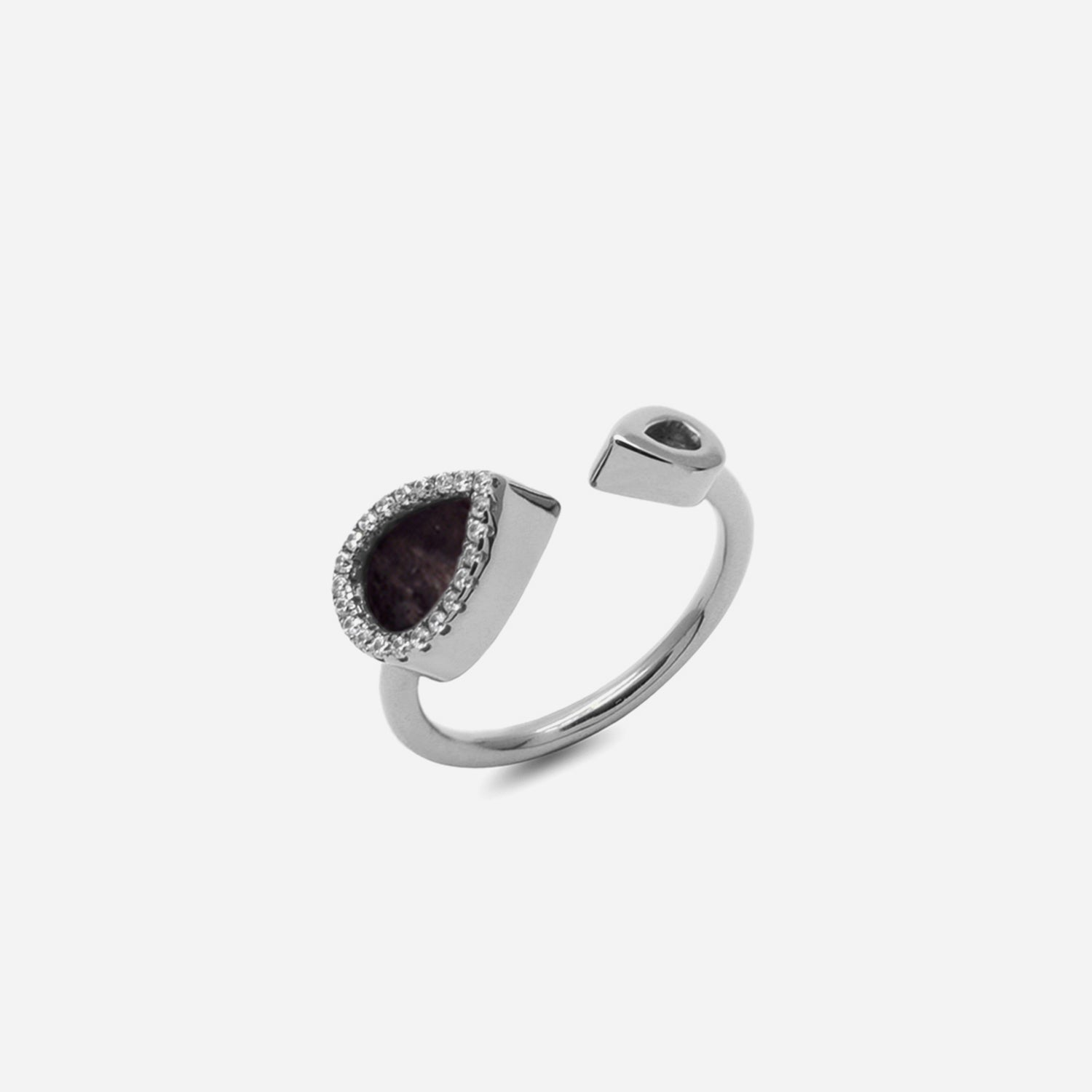 AQUA 水 Open Ring in Black Jade