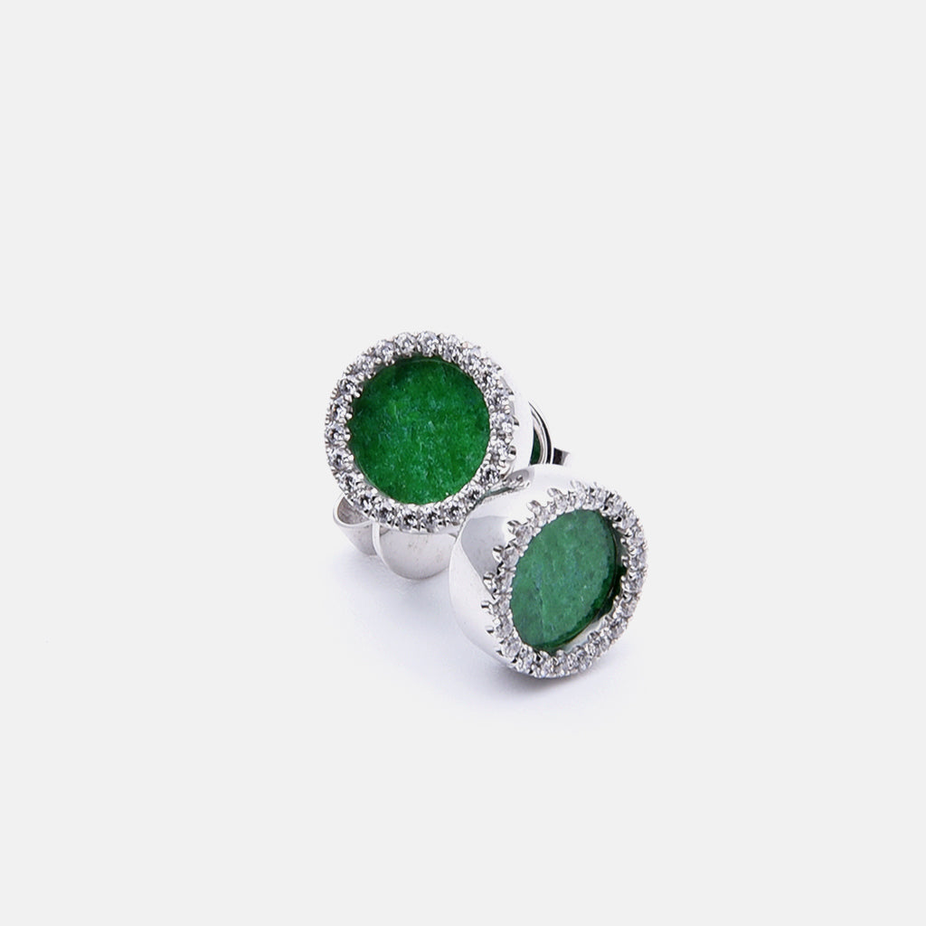 ETERNITY 緣 Earring Studs in Green Jade