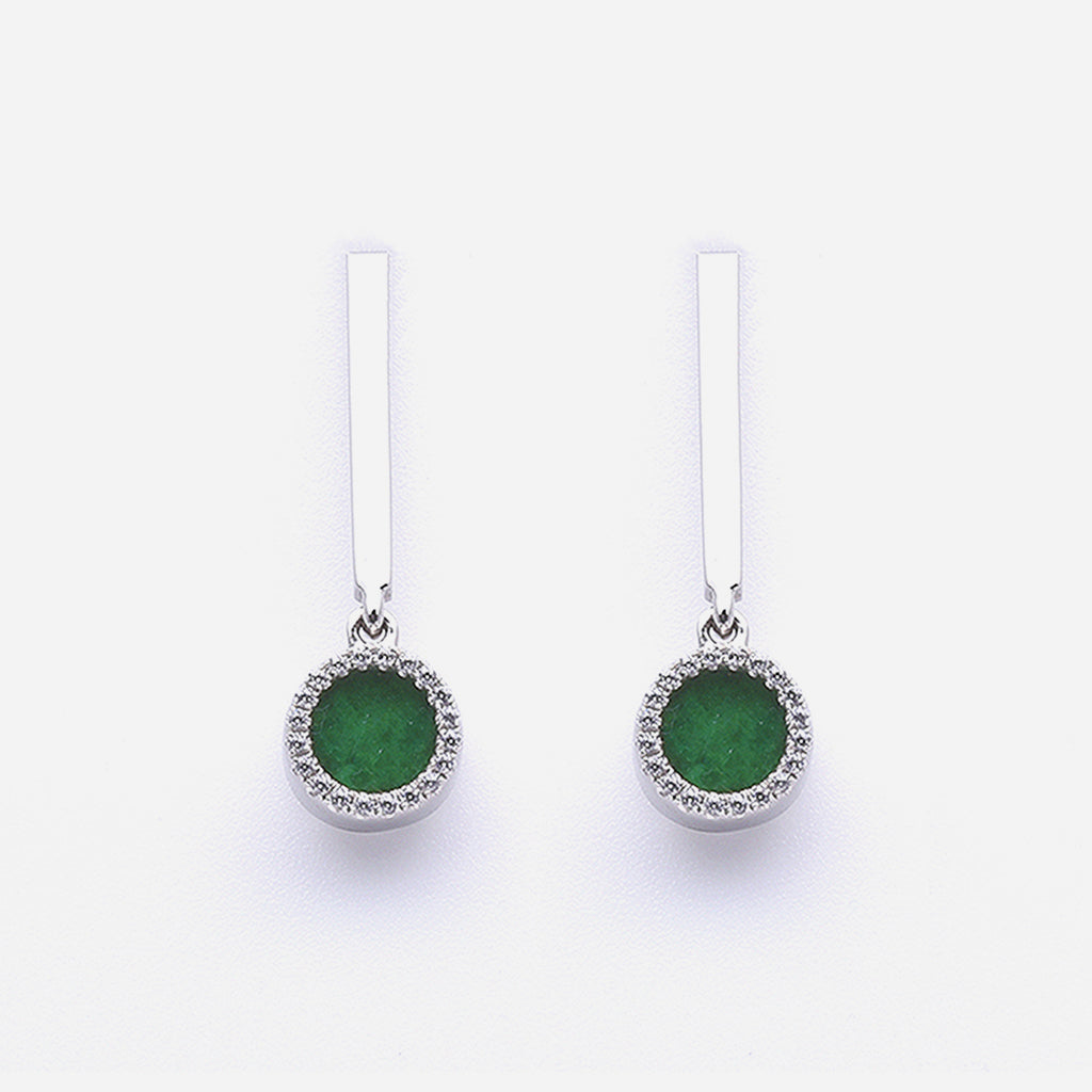 ETERNITY 緣 Dangling Earrings in Green Jade