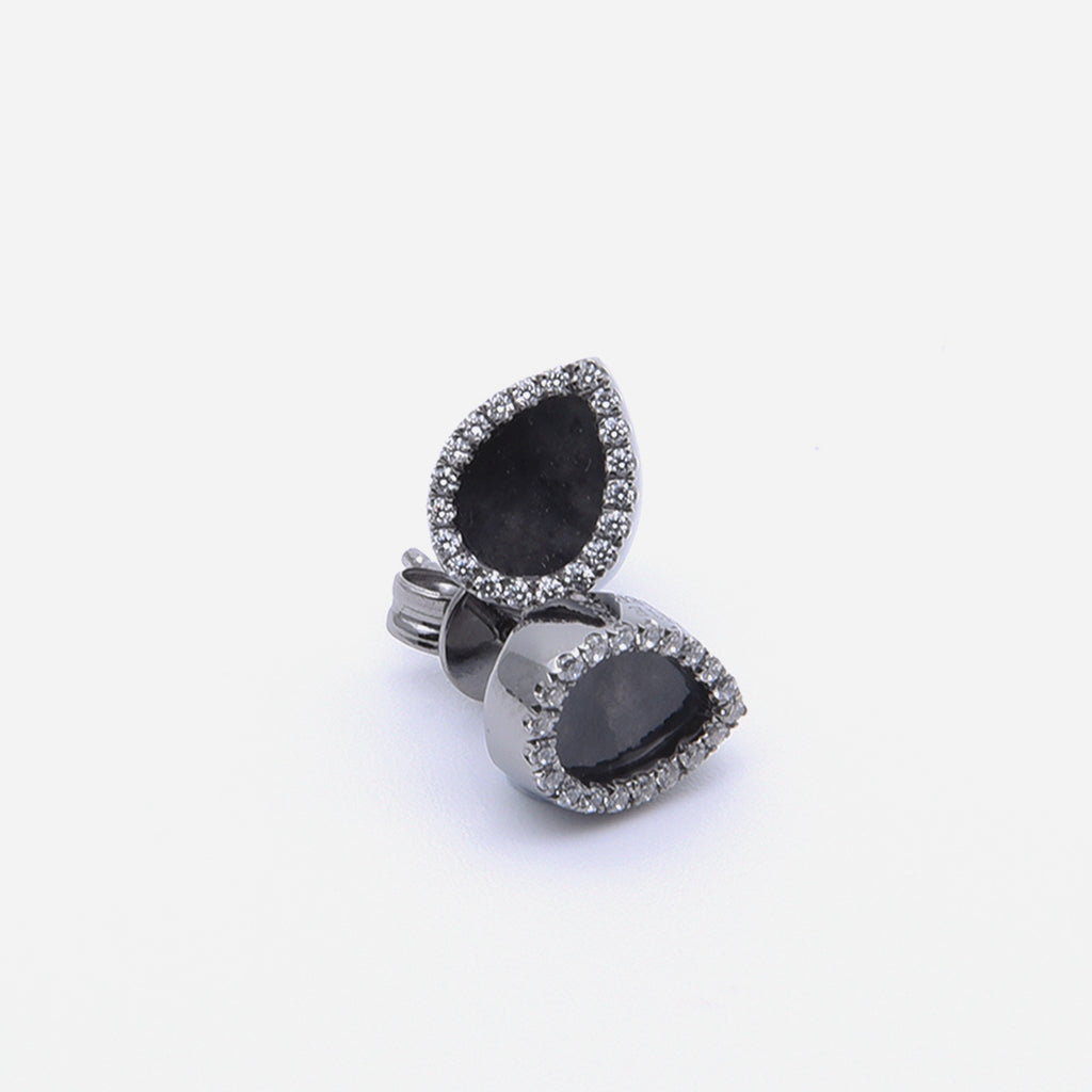 AQUA 水 Earring Studs in Black Jade
