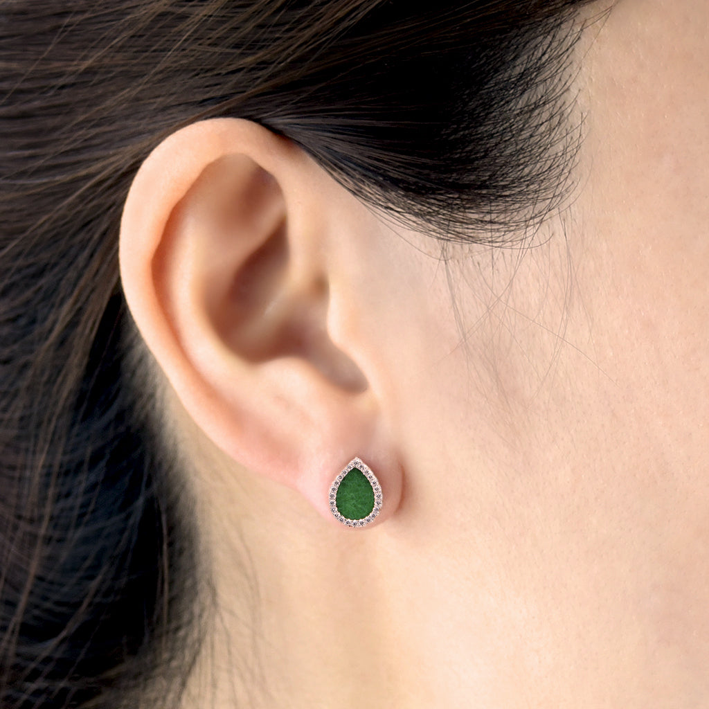 AQUA 水 Earring Studs in Green Jade