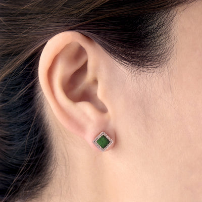 TERRA 方 Earring Studs in Green Jade