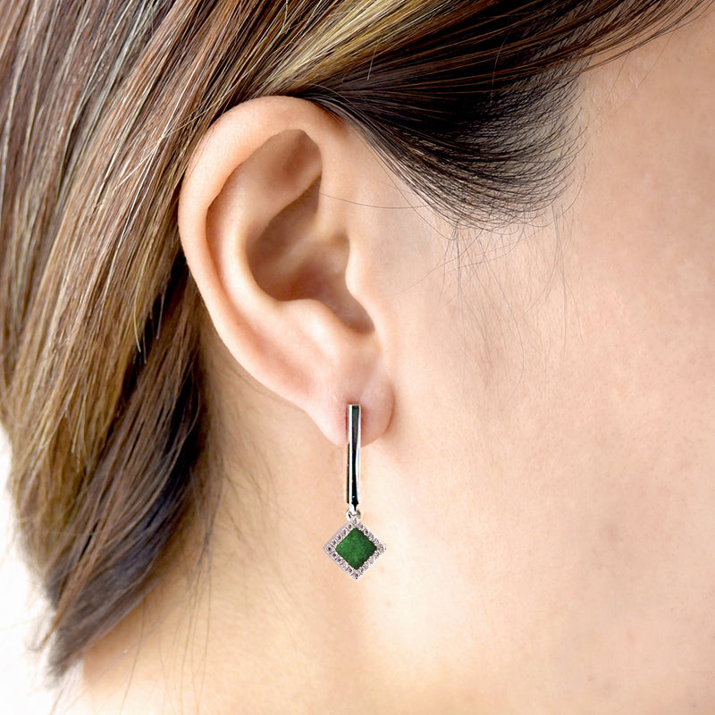 TERRA 方 Dangling Earrings in Green Jade