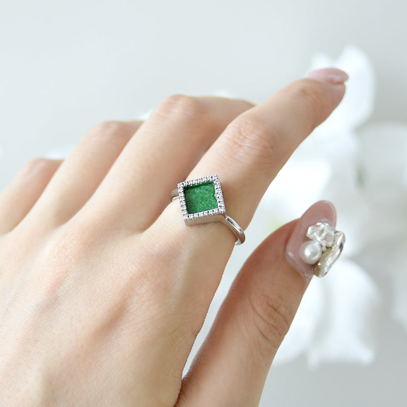 TERRA 方 Ring in Green Jade