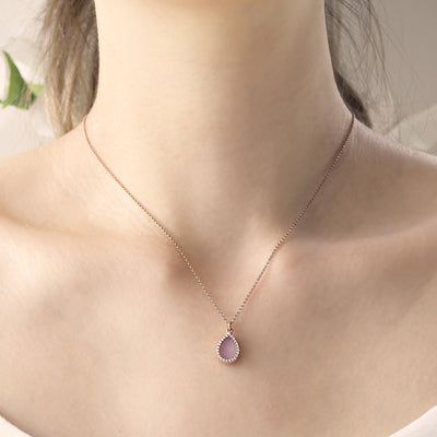 Natural lavender jade necklace in minimal style