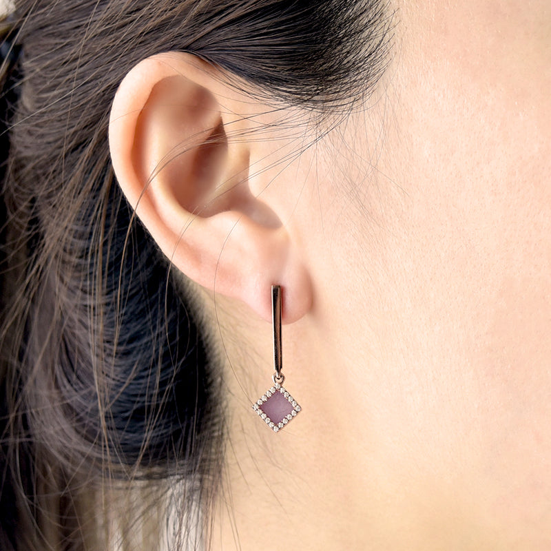TERRA 方 Dangling Earrings in Lavender Jade