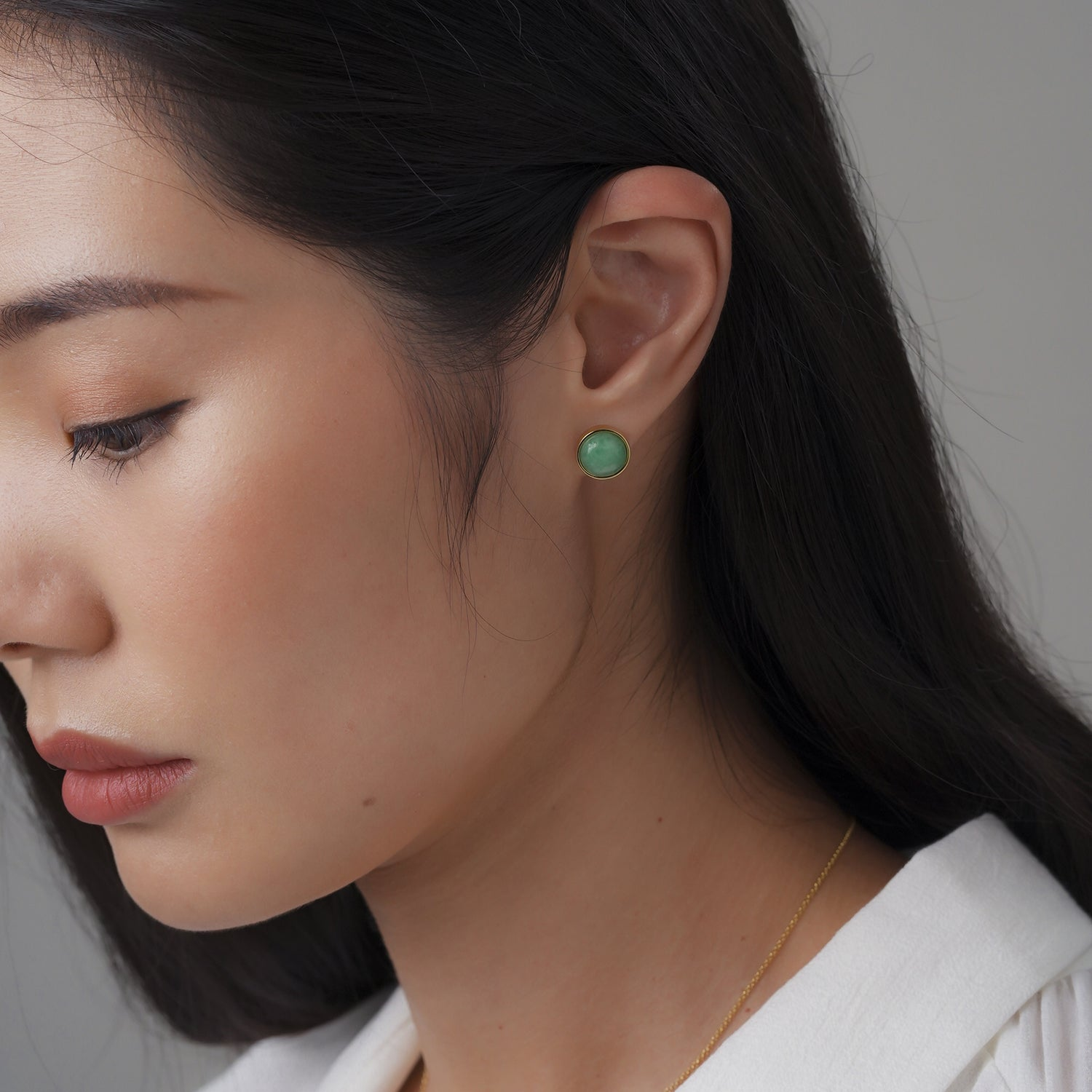 EDEN 悅 Earring Stud in Apple Green Jade