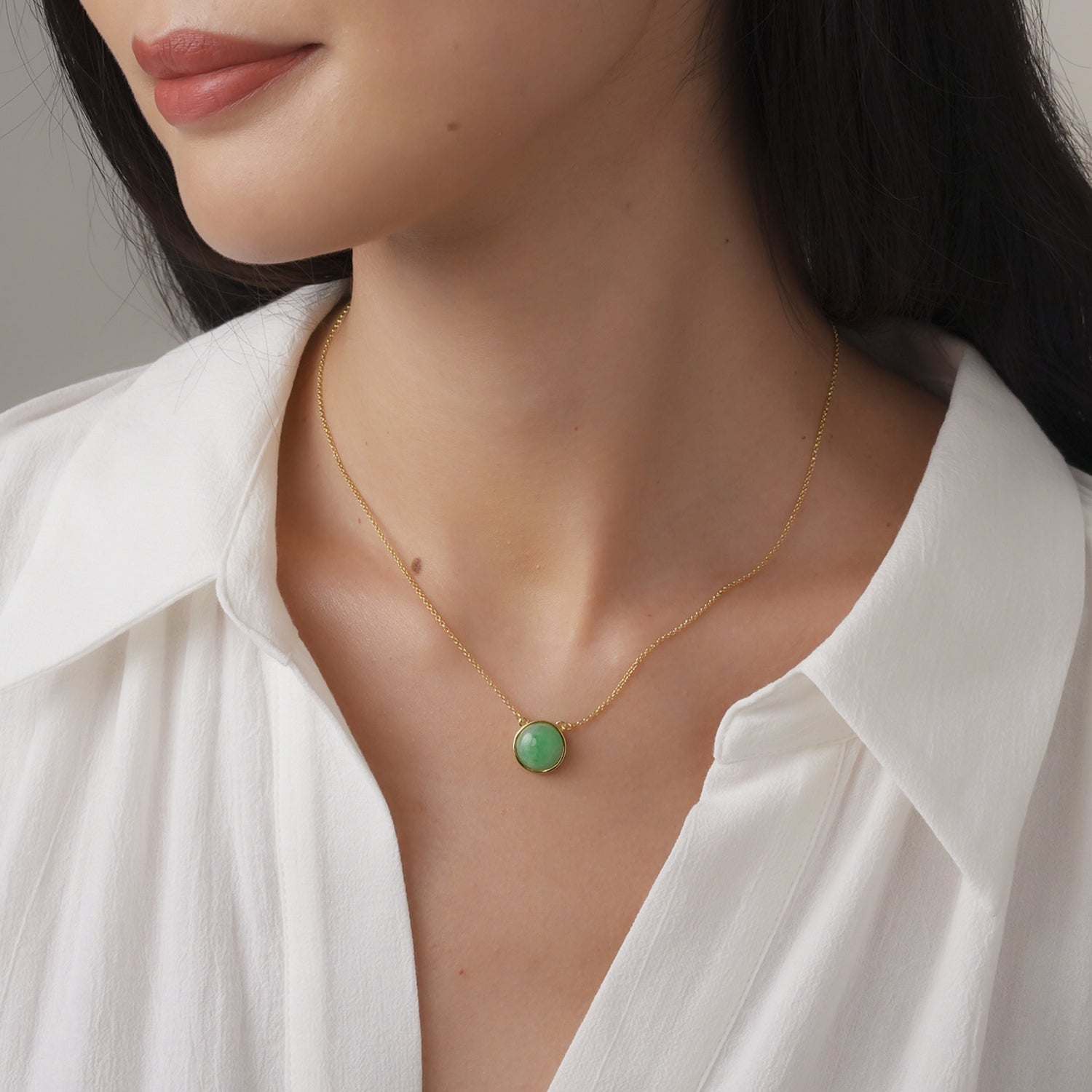 EDEN 悅 Necklace in Apple Green Jade