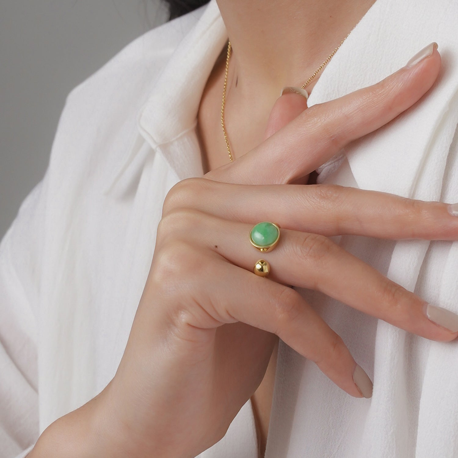 EDEN 悅 Open Ring in Apple Green Jade