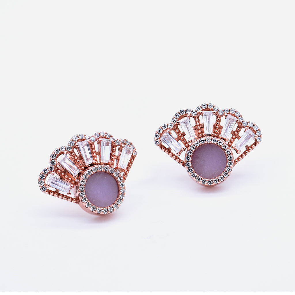 Oriental Fan Earring Studs in Lavender Jade