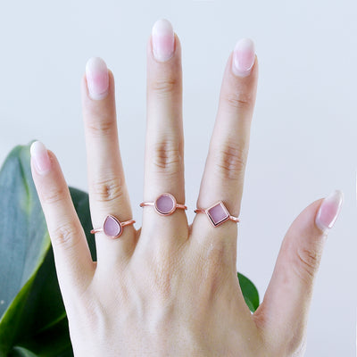 Natural lavender jade ring stackable by Jadeite Atelier