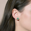 AURUM 金 Earring Studs in Light Green Jade