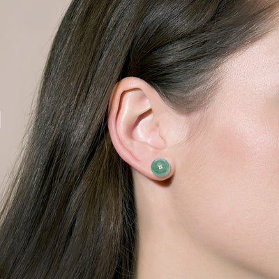 Natural light green jade white gold earring studs by Jadeite Atelier