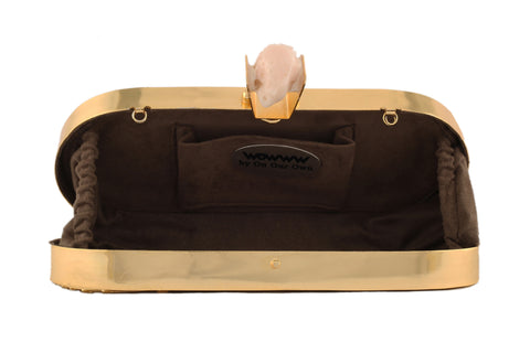 Ivory And Golden Capsule Hi Fashion Clutch