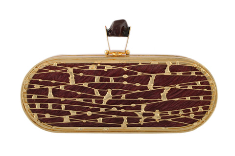 Maroon And Golden Capsule Hi Fashion Clutch