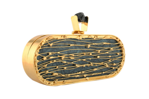 Black-Grey And Golden Capsule Hi Fashion Clutch
