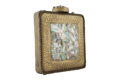 Antique Golden Mother Of Pearl Hi Fashion Clutch