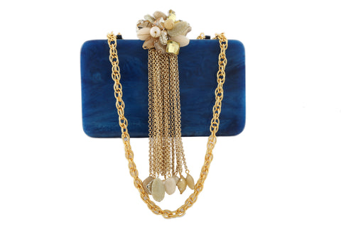 Blue And Golden Resin Hi Fashion Clutch