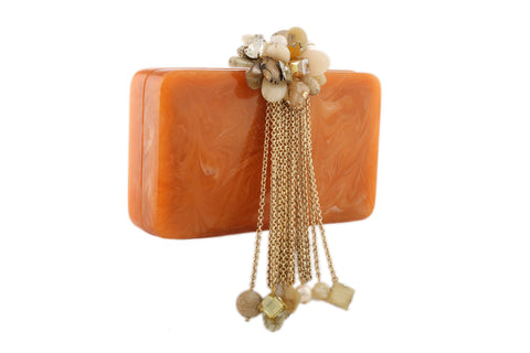Orange And Golden Resin Hi Fashion Clutch