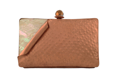 Copper And Multicolored Brass Metal Folded Clutch