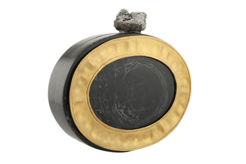 Black And Golden Oval Resin And Plate Clutch