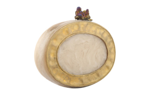 Ivory And Golden Oval Resin And Plate Clutch