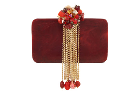 Maroon And Golden Resin Hi Fashion Clutch