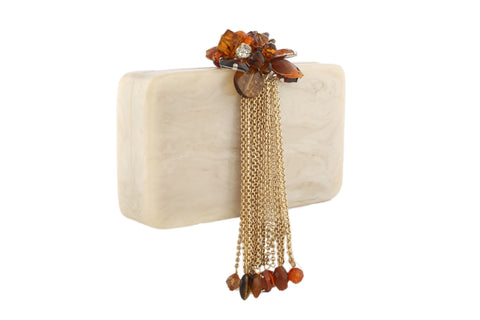 Ivory And Golden Resin Hi Fashion Clutch
