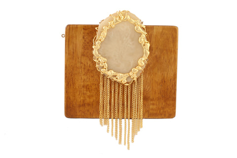 Mustard And Ivory Wood And Resin Waterfall Clutch