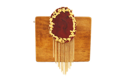 Mustard And Maroon Wood And Resin Waterfall Clutch