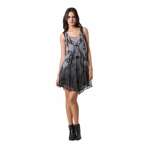 Abstract Grey Silk dress