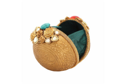 Potli Bag with Blue & Pink stone clutch