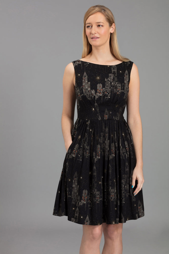 9911a1e9a8d Vintage Style Emily and Fin Abigail Black Pleated New York City Lights Dress