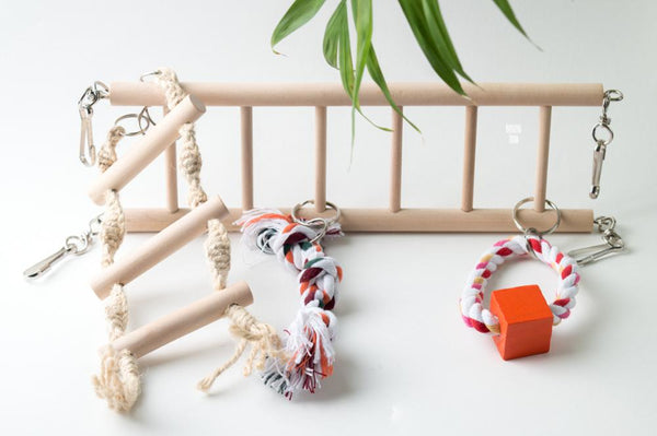 Wooden bird ladder with toys