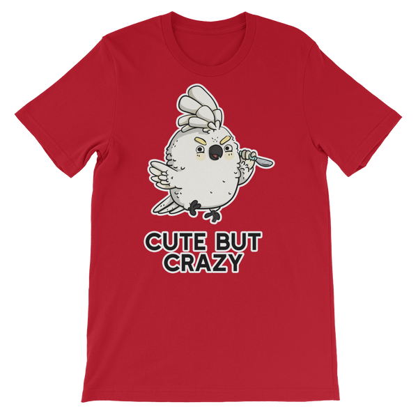 Cute but crazy bird shirt red
